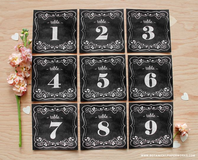 These would be perfect for weddings with a vintage, rustic, romantic  or whimsical theme - Free printable Chalkboard Wedding Table Numbers from botanicalpaperworks.com