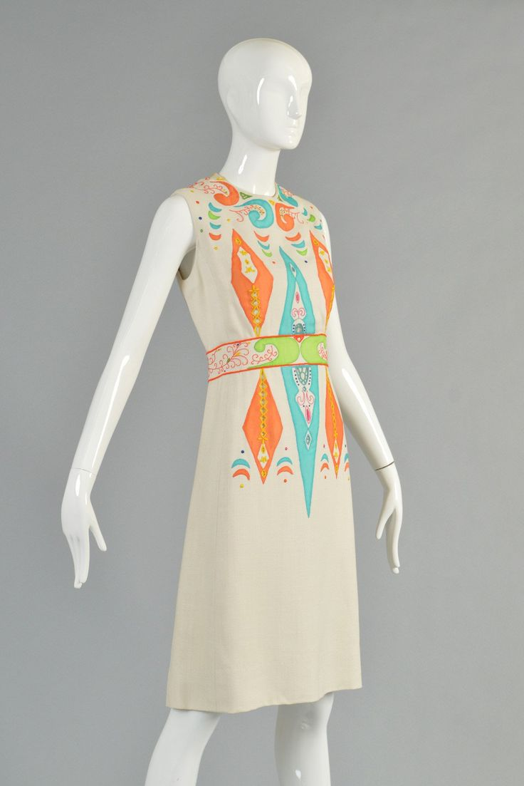 60s Marc Bohan for Dior New York Embroidered Cutwork Shift Dress | BUSTOWN MODERN