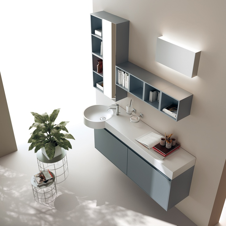 The #Scavolini #bathrooms furnishing system expresses an unprecedented vision with creativity