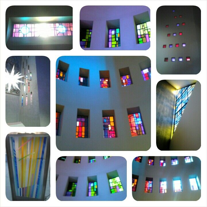Stained glass windows, photography from inside.Liverpool metropolitan cathedral