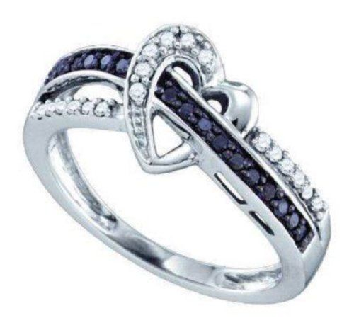 0 25 cttw 10k White Gold Black Diamond Crossover Heart Promise Ring Real Dia
