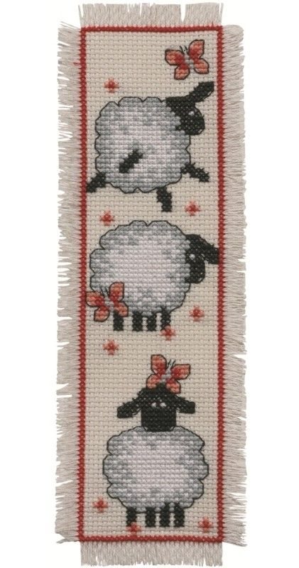 Sheep Bookmark: Cross stitch (Permin, 05-2101)