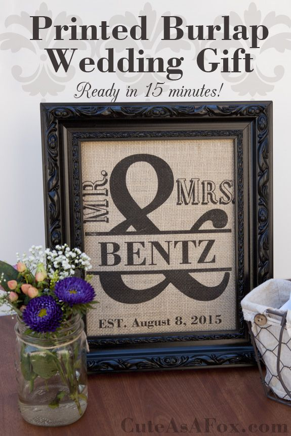 Mr. and Mrs. Ampersand Word Art Printed on Burlap. Ready in 15 minutes!