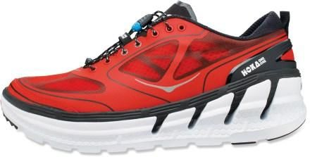 I'm giving this maximal cushioning shoe a try as a possible solution to a painful neuroma on the bottom of my left foot, which makes walking long miles painful. No question it cruises over small rocks. Used by ultramarathoners, they tell me.