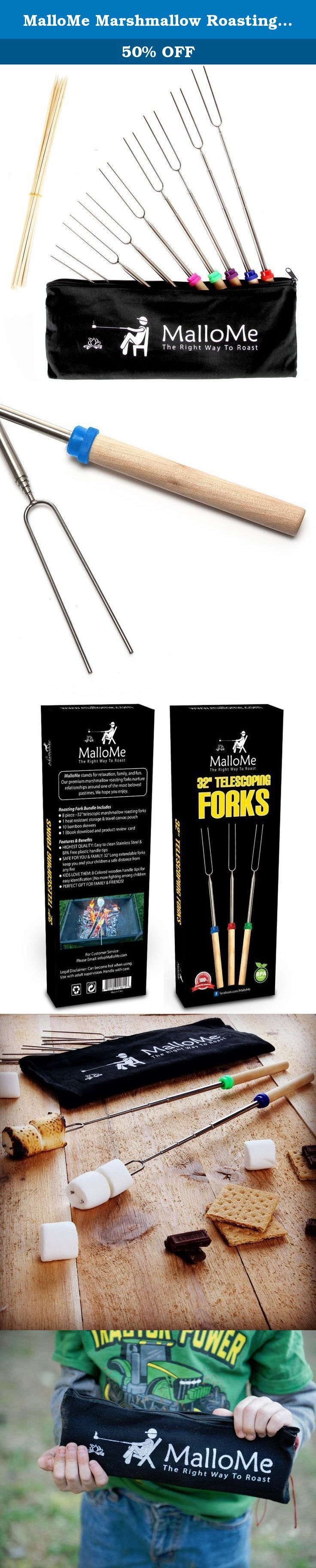 """MalloMe Marshmallow Roasting Sticks Set of 8 Telescoping Smores Skewers & Hot Dog Forks 32 Inch Patio Fire Pit Accessories Camping Cookware Campfire Cooking Kids Fireplace Accesories - FREE Canvas Pouch, 10 Bamboo Sticks & Marshmallow Sticks Ebook. THROW AWAY THOSE SHORT & CLUNKY 22 INCH ROASTING STICKS & GET YOUR FIRE PIT READY! THE BEST MARSHMALLOW ROASTING FORKS ARE FINALLY HERE MalloMe Marshmallow Roasting Sticks 