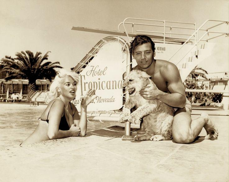 Jayne Mansfield & Mickey Hargitay at the Tropicana Hotel & Casino, vintage Las Vegas photo.