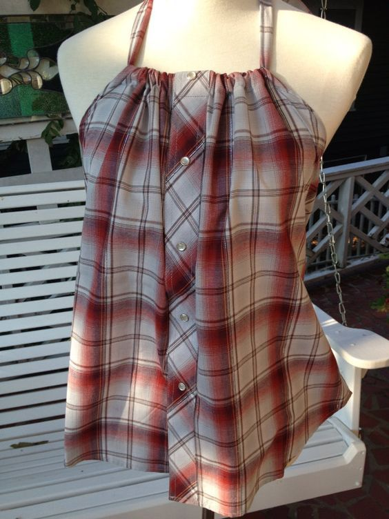 Men's shirt refashion upcycled halter top by KDsquared on Etsy: