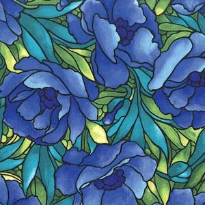 POPPIES STAINED GLASS FABRIC