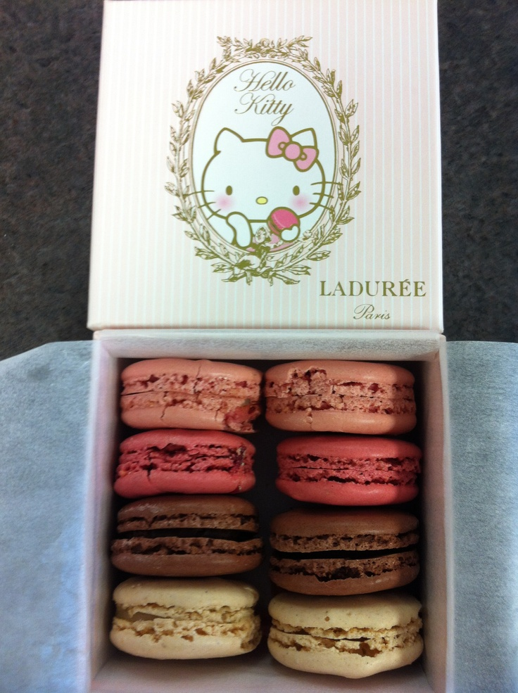 My sweet friend Leslie was in Paris last week and brought me Hello Kitty macarons from Ladurée! Vanilla bean, chocolate, raspberry and cherry blossom. Coming back to school after Spring Break was not so bad after all...