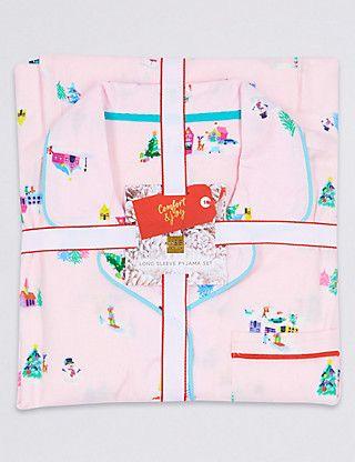 Pure Cotton Long Sleeve Pyjamas (1-16 Years)   M&S