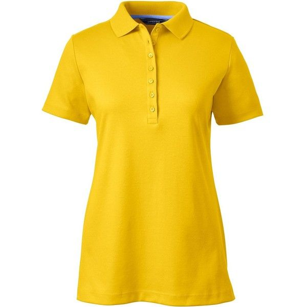 Lands' End Women's Tall Pima Polo Shirt ($40) ❤ liked on Polyvore featuring tops, yellow, yellow polo shirt, lands' end, tall polo shirts, yellow top and lands end tops