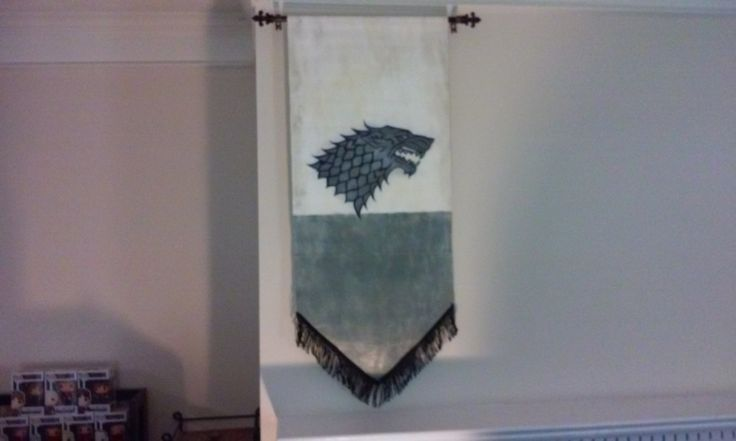Winter is Coming  Game of Thrones House Stark sigil banner, hand made with high…