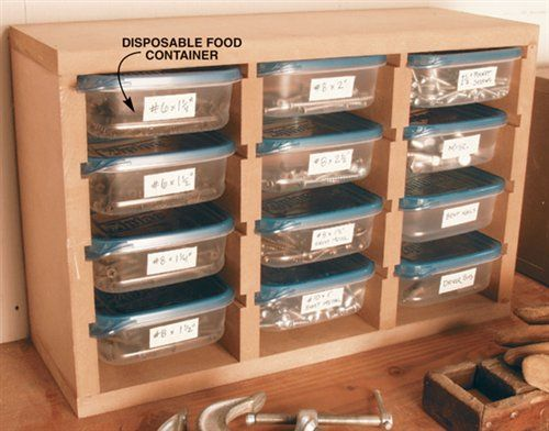 screw / nail storage: Garage Workshop, Food Storage Containers, Woodworking Shops, Blog Tips, Small Parts Organizations, American Woodworking, Disposable Food, Organizers, Food Container