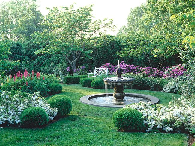 Classic Garden With Water Fountain