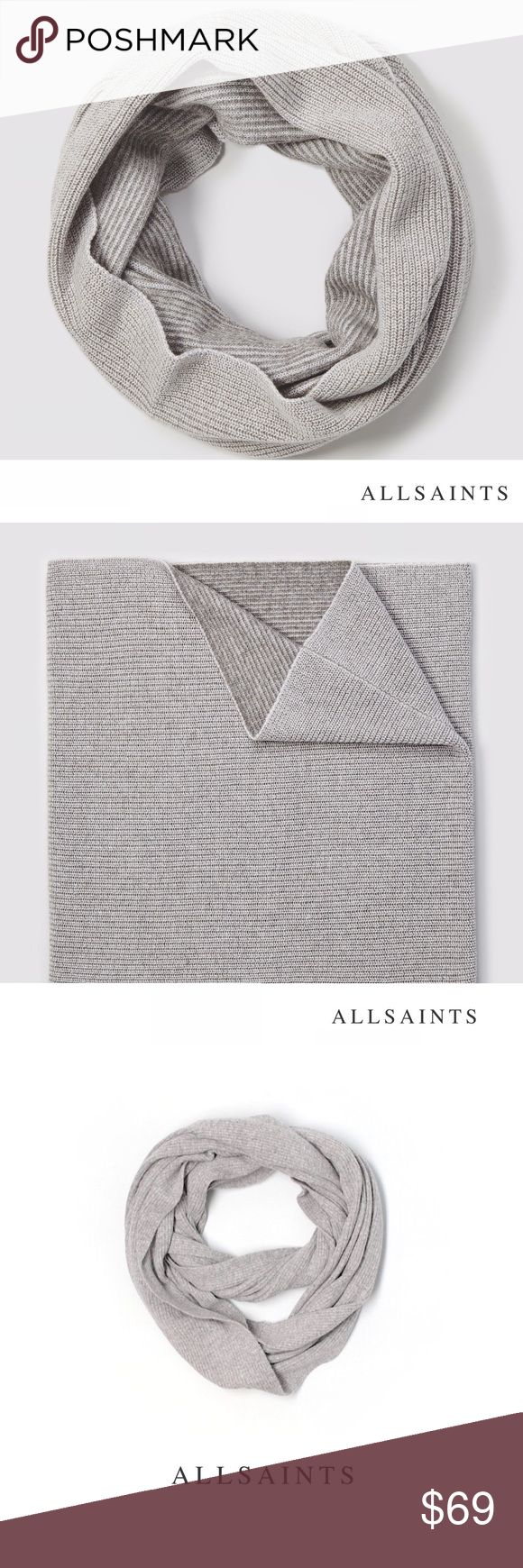 AllSaints Coxon Snood Wool Cashmere Infinity Scarf Stunning heather gray shade with a smart, minimalist look. Wool/Cashmere blend. Never worn. BNWT. No trades All Saints Accessories Scarves & Wraps