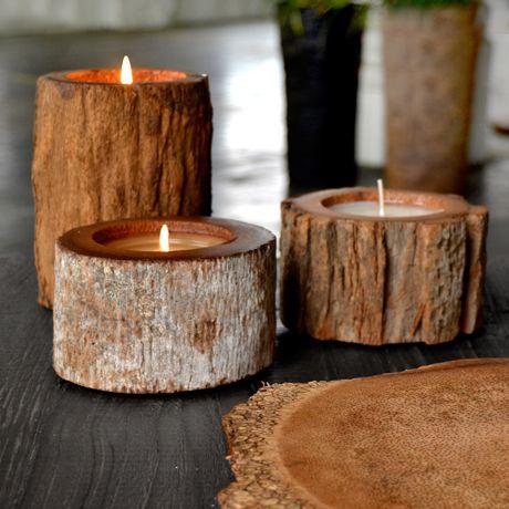 Nachhaltige Holz-Kerzen und -Töpfe