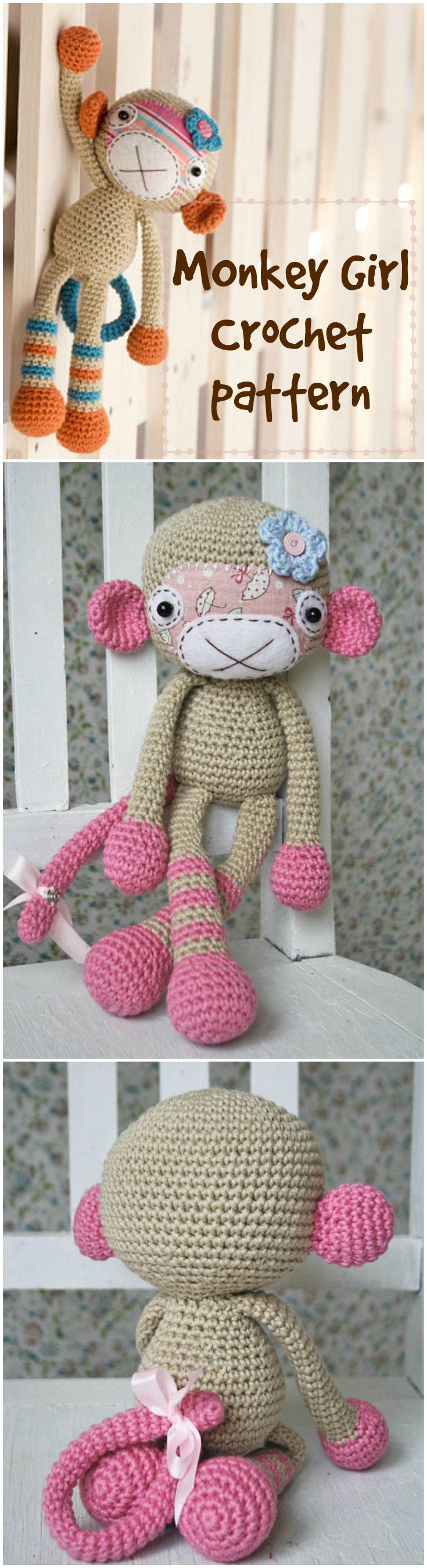 Cute little monkey girl crochet pattern to make! Love this adorable monkey amigurumi. Perfect handmade gift for a new baby! #etsy #ad #pdf #crochet #pattern #instant #download