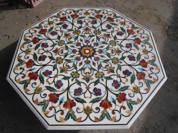 White Marble Inlay Dining Table Stone Inlaid Pietra Dura Antique Patio Tables Marble Inlay Dining Table Marble Stone Table Top