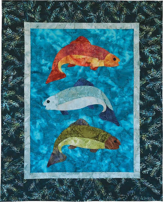 """Fish Tales Pattern 26 1/2"""" x 33"""" by McKenna Ryan for Pine Needles Designs,Fast Shipping PT514"""