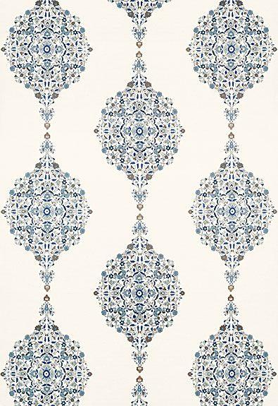 Mehndi Linen Print Schumacher Fabric