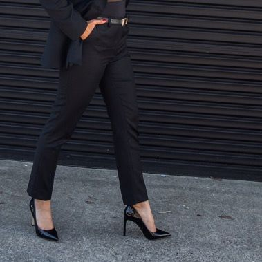 Women's tailored pants | Black Merino wool | Ethical fashion | Sophisticated | Business formal | Women's suit