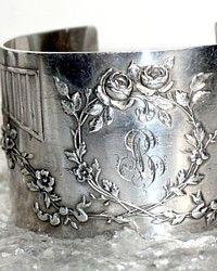 Antique French Karen Lindner Designs Silver Cuff Bracelet Roses