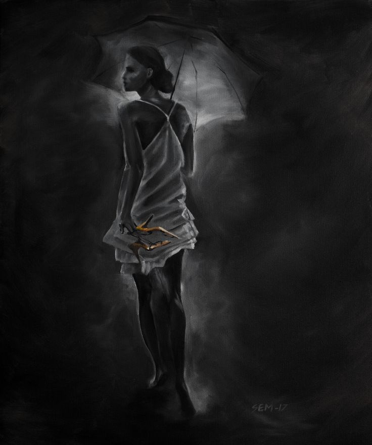 """""""Under my umbrella"""". Original painting. Oil-painting on canvas, 50x60 cm. Amazing and beautiful painting of a model with an umbrella. painted in black and white with golden coloured shoes."""