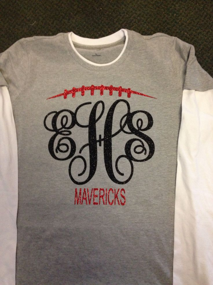 Custom made football monogram shirts any school color for Dress shirt monogram placement
