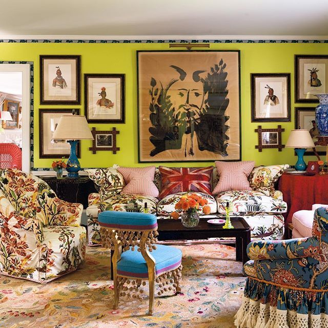 Color Outside The Lines Jeffrey Bilhuber Redecorates Living Room LoungeColor