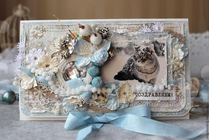 Купить Подарочный конверт с котиком - голубой, конверт, Конверт для денег, конверт ручной работы