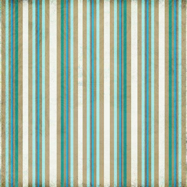 Scrapbook Customs - Travel Collection - 12 x 12 Paper - Paradise -Sand Stripe