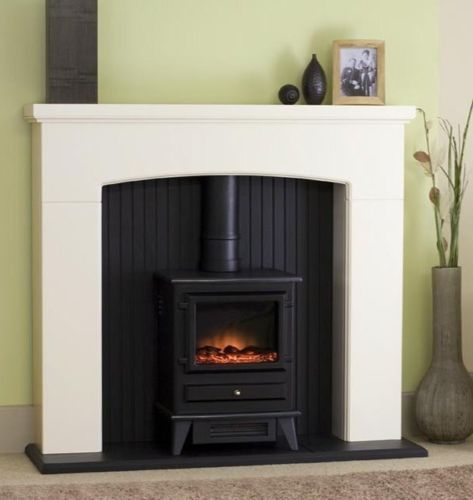New White Mantle Black Fireplace Electric Stove Fire Surround Freestanding Fire Stove