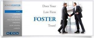 Creative print advertising strategy Jones Foster law firm website jonesfoster.com