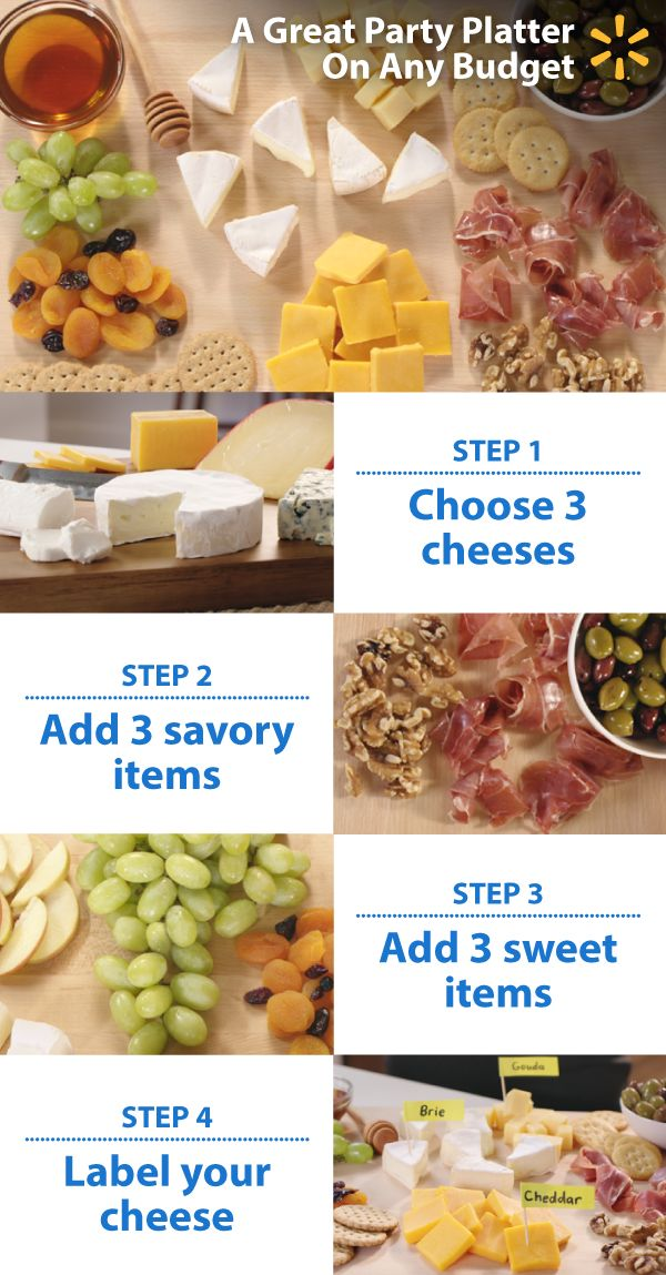 """""""Wow"""" your guests with an ultimate party platter. It's as easy as 3+3+3: 1.) Start with 3 cheeses (we recommend sharp cheddar, brie and gouda). Set cheese out an hour before your party for the best flavor. 2.) Add 3 savory items (like olives, ham and nuts). 3.) Complete with 3 sweets (say, grapes, dried apricots and raisins). 4.) Label using toothpicks, sticky notes and a pen. Serve as an appetizer or after dinner. Check out more Walmart party-planning tips and tricks to fit any budget."""