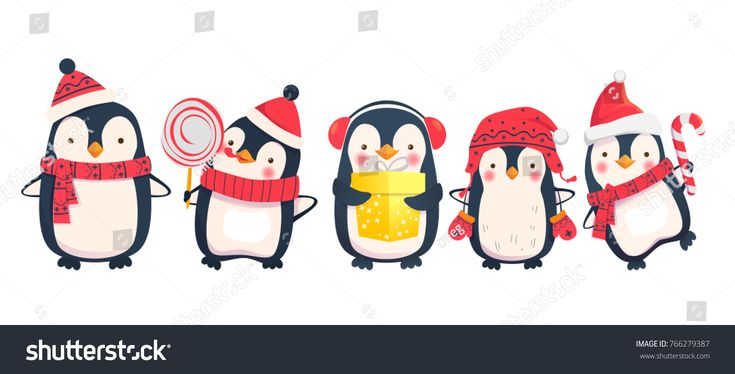 Penguins cartoon vector illustration. Christmas penguin characters. Stock photography, images, pictures, Illustrations, ideas. Download vector illustrations and photos on Shutterstock, Istockphoto, Fotolia, Adobe, Dreamstime
