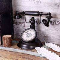 Потертый Шик Ретро Телефон Модель Vintage Стиле Ретро Настольные Часы Настольные Часы Бар Кафе Ремесла Украшения
