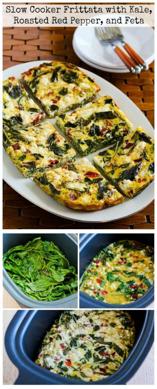 Slow Cooker Frittata with Kale, Roasted Red Pepper, and Feta from Kalyn's Kitchen is perfect to make in the Crock-Pot Casserole Crock Slow Cooker! [featured for Casserole Crock Saturdays on SlowCookerFromScr...]