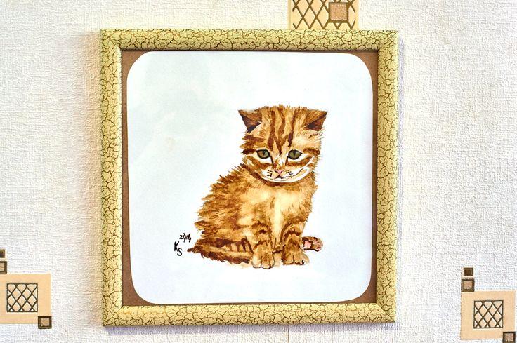 Cute Little Kitten red kitten cute little coffee watercolour nice orange brown cat pussy picture painting 45.00 USD #goriani