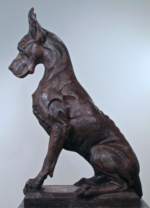 Bronze Field Sports, Game Birds and Game Animals sculpture by artist Wesley Wofford titled: 'Great Dane- Sentinel (Big bronze Stylised Seated Guard Dog statue)'