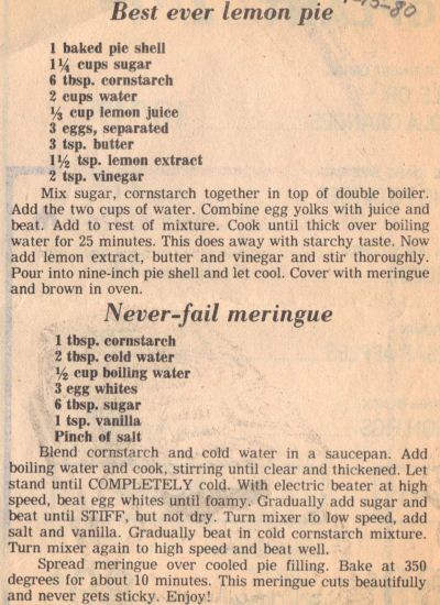 Recipe Clipping For Best Ever Lemon Pie