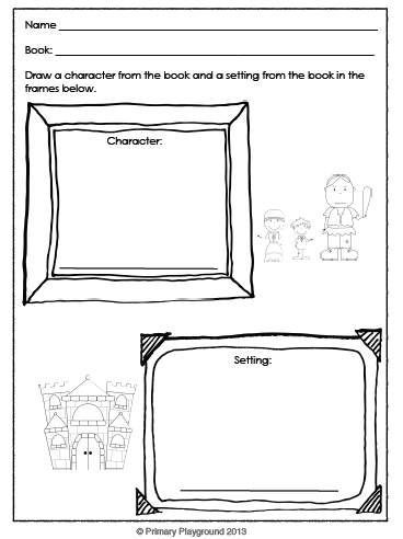 Graphic organizers for any book; students can identify and describe characters, setting, and key events