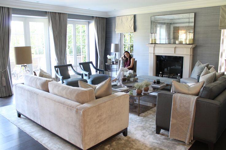 Cream velvet sofa.