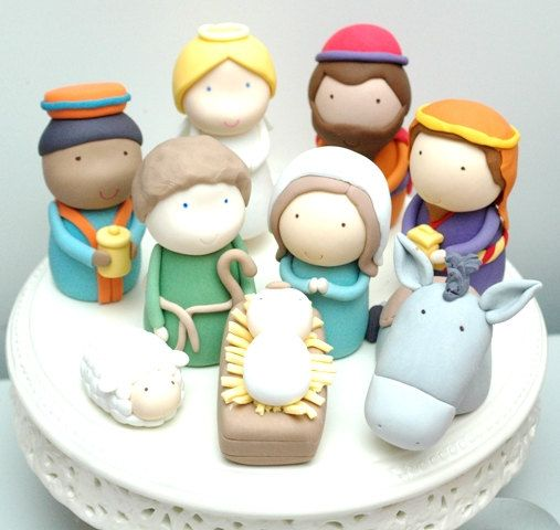 Christmas Nativity Scene Set of 7 Figurines Cake Toppers