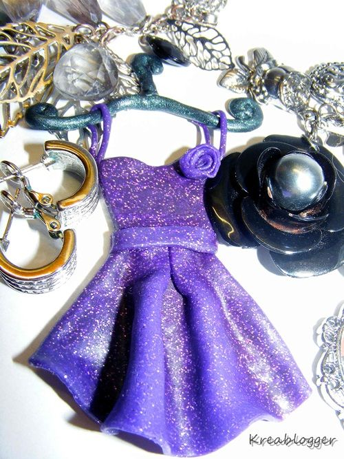 retro-style charm made of polymer clay (inspired by Sandy Olsson's dress)