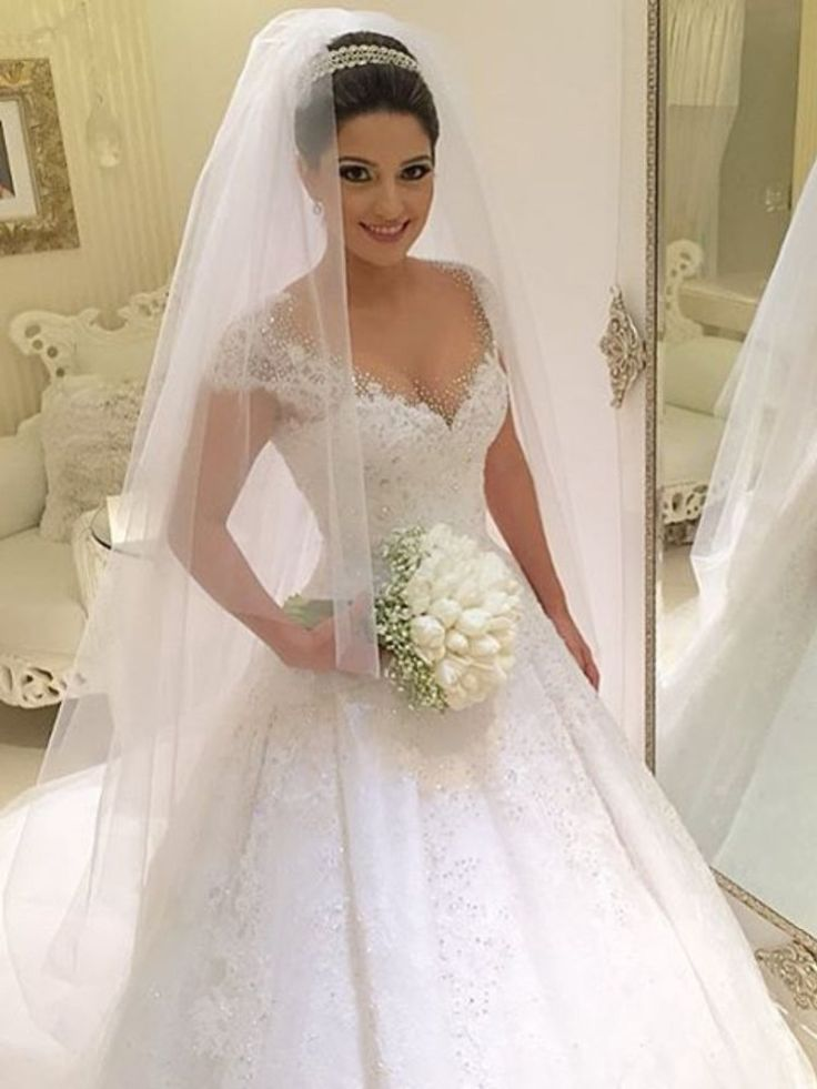 Ball Gown Tulle Cap Sleeves Wedding Dress