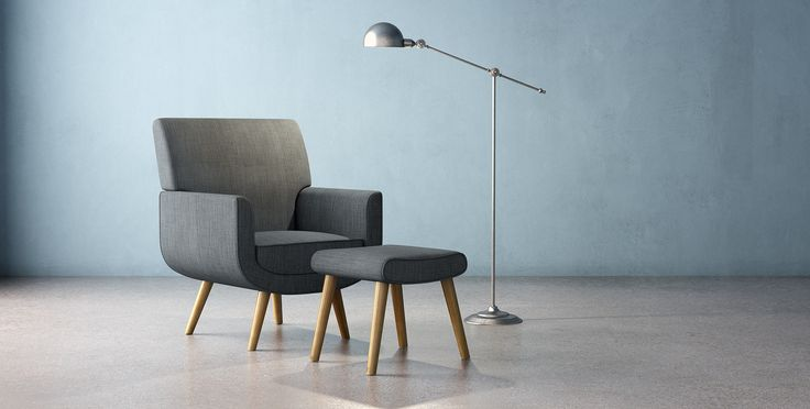 The Yves Armchair and Footstool set boasts serious style, without turning your room too formal. The curves of the chair's main body and its slim angled legs wor