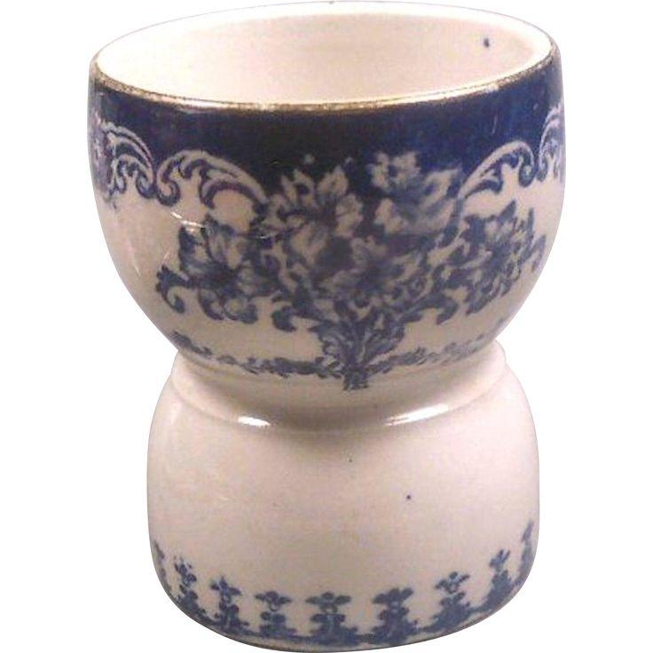 Victorian Flow Blue Transferware Egg Cup