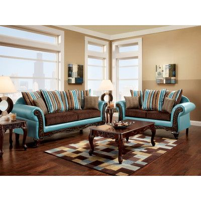 Features:  -Includes matching accent pillows.  -Rovena collection.  -Color: Teal and brown.  -Hardwood frame, corner-blocked stability.  -Soft yet durable fabric upholstery.  -Transitional inspired de