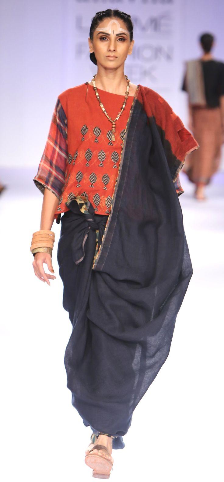 Cutwork Indigo madder linen Sari