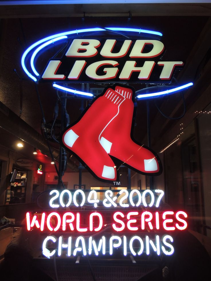 beer signs neon bud light sign sox boston series baseball mlb sports 2004 2007 champions metal lighting chicago teams incandescent